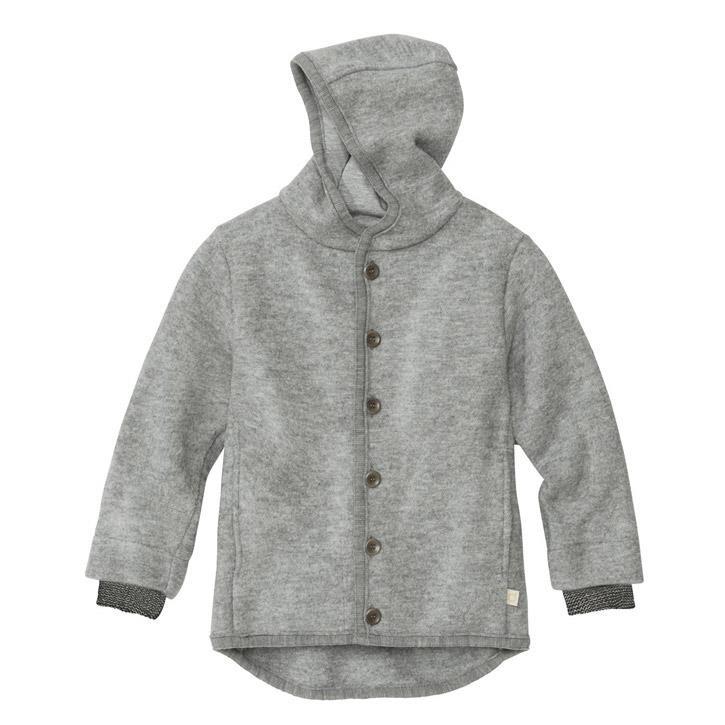Disana Walk-Jacke grau 100% kbT Schurwolle/Futter 100% bkA Baumwolle