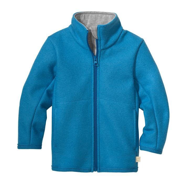 Disana Zipper-Jacke karibikblau 100% Bio-Schurwolle