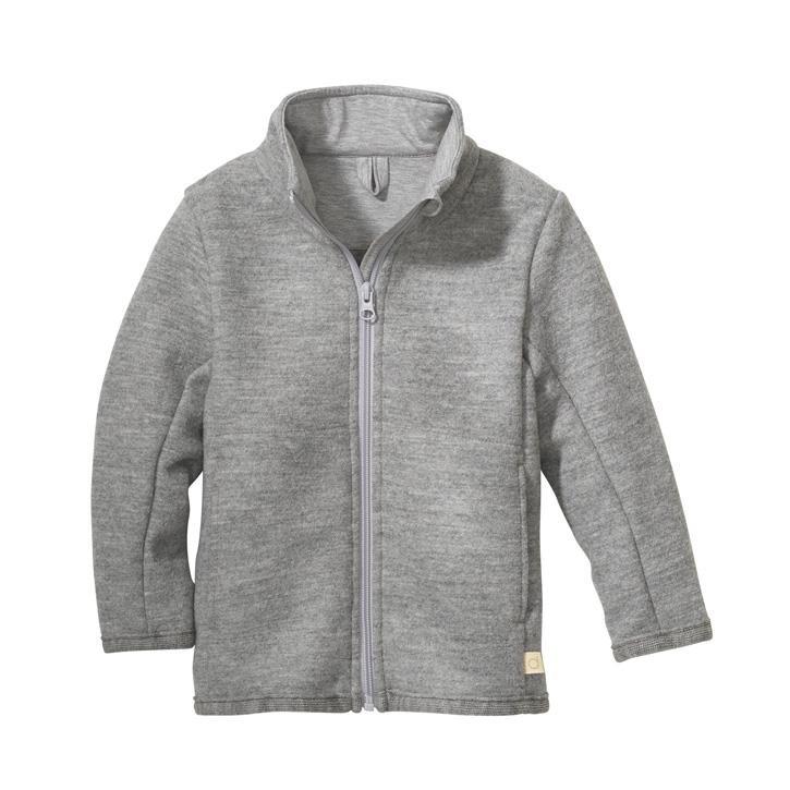 Disana Zipper-Jacke kieselgrau 100% Bio-Schurwolle