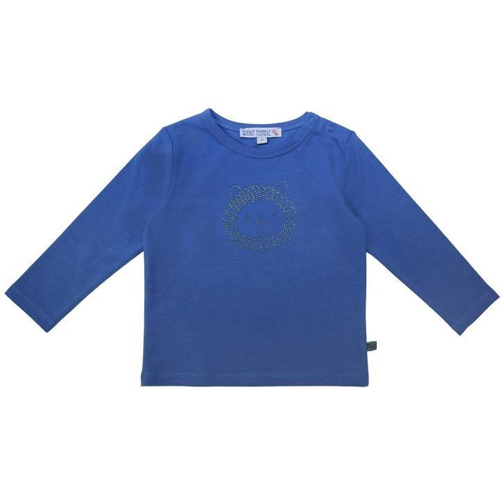 Enfant Terrible Baby T-Shirt mit Löwenstickerei  himmelblau