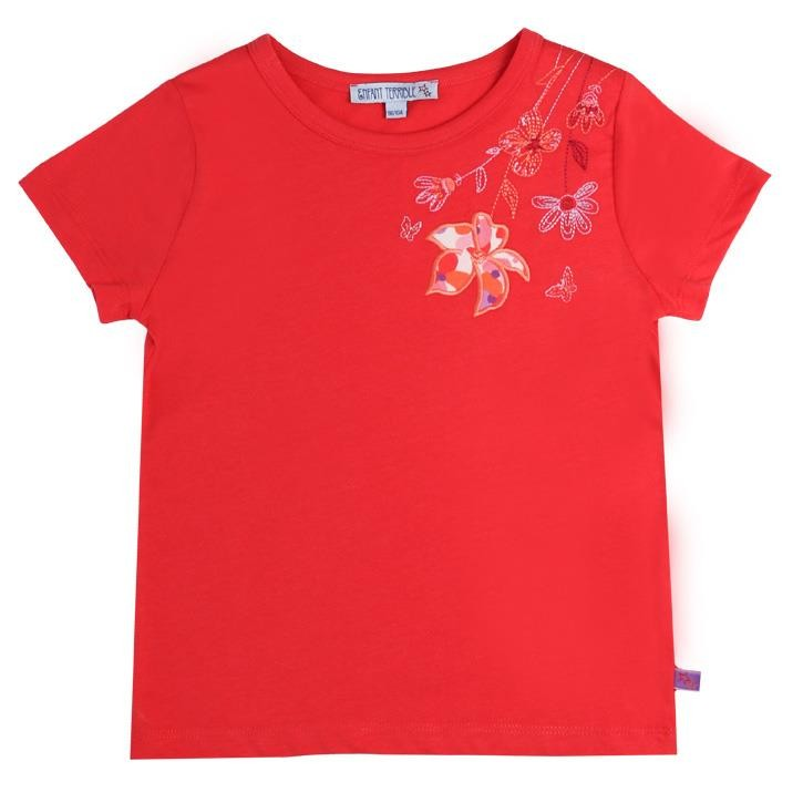 Enfant Terrible Kurzarmshirt mit Blumen Stickerei rot