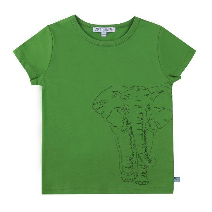 Enfant Terrible Kurzarmshirt mit Elefanten Stickerei leaf green