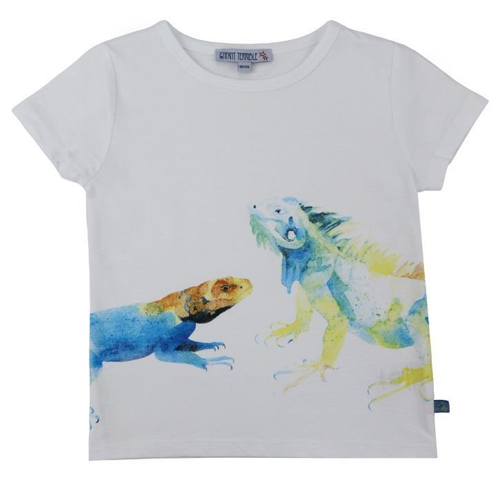 Enfant Terrible Kurzarmshirt mit Reptildruck 098/104 white