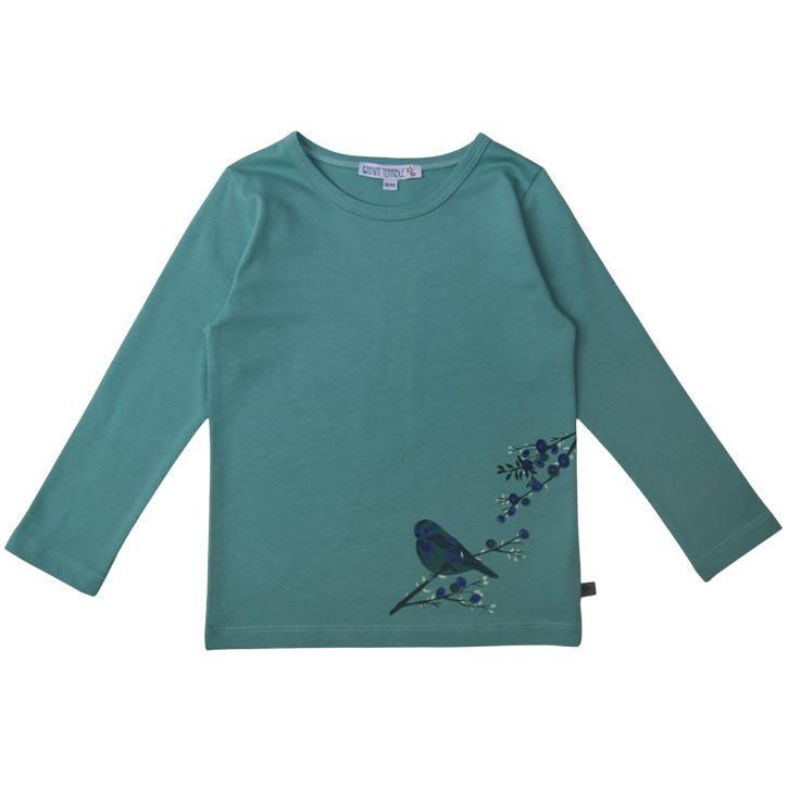 Enfant Terrible Shirt mit Blaubeer- und Vogeldruck ozean