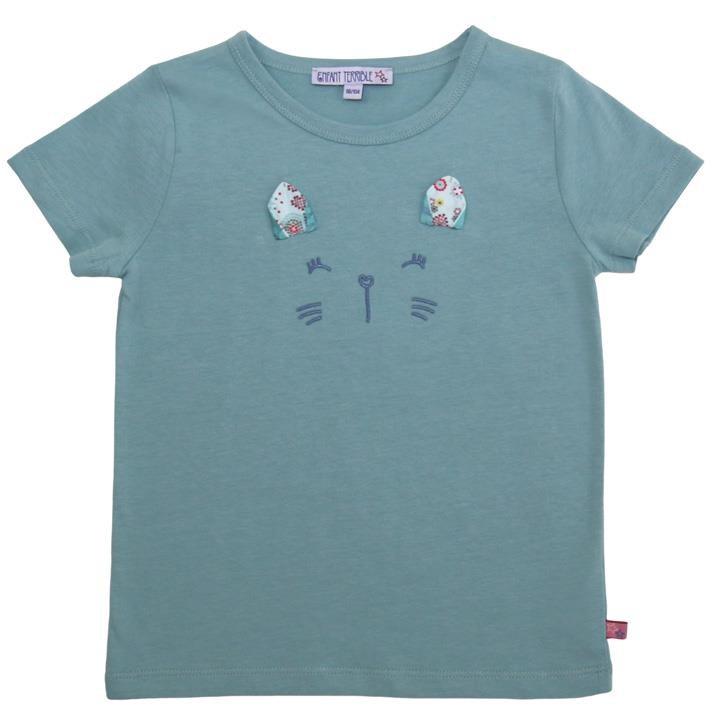 Enfant Terrible Shirt mit Katze 122/128 jade