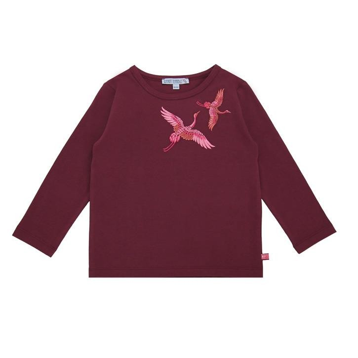 Enfant Terrible Shirt mit Kranichen bordeaux