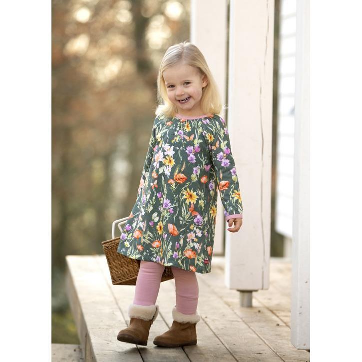 Enfant Terrible Sweatkleid mit Blumendruck waldgrün-ocker