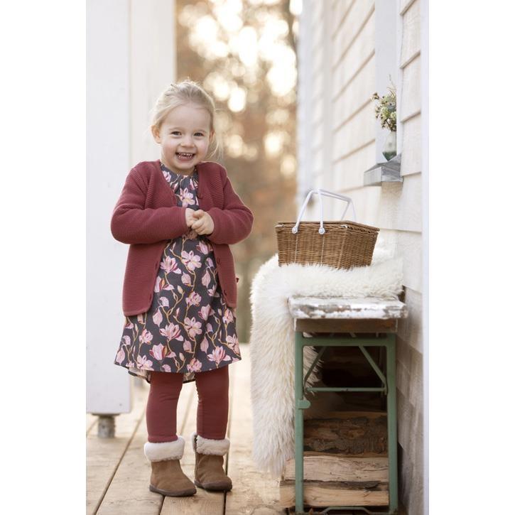 Enfant Terrible Webkleid mit Magnolien schiefer-rosé