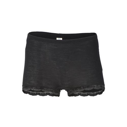 Engel Damen-Pants, m. Spitzenabschluss, schwarz, 70Wolle/30Seide