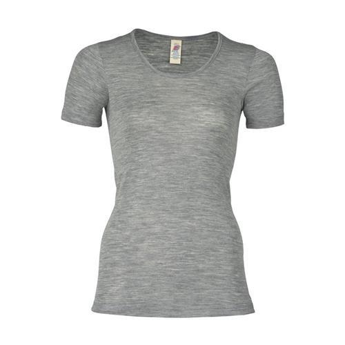 Engel Damen-Shirt, kurzarm, hellgrau melange, 42/44, 70Wolle/30Seide