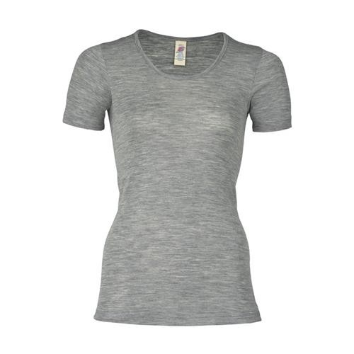 Engel Damen-Shirt, kurzarm, hellgrau melange, 46/48, 70Wolle/30Seide