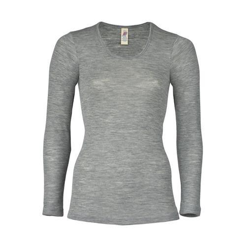 Engel Damen-Shirt, langarm, hellgrau melange, 38/40, 70Wolle/30Seide
