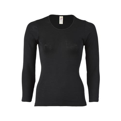 Engel Damen-Shirt, langarm, schwarz, 70Wolle/30Seide