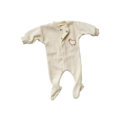 Engel Einteiliger Schlafanzug, langarm, Kleines Schaf, natur, 50, Woll-Frottee