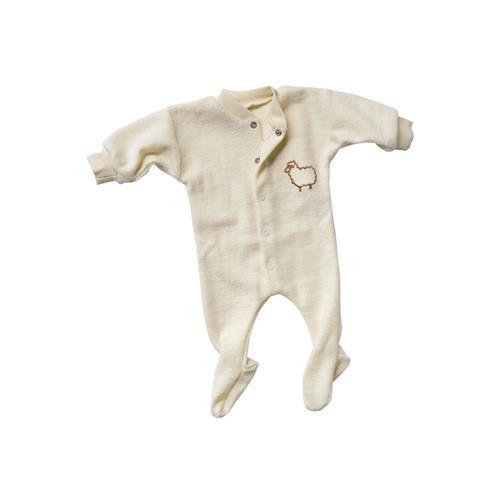 Engel Einteiliger Schlafanzug, langarm, Kleines Schaf, natur, 56, Woll-Frottee