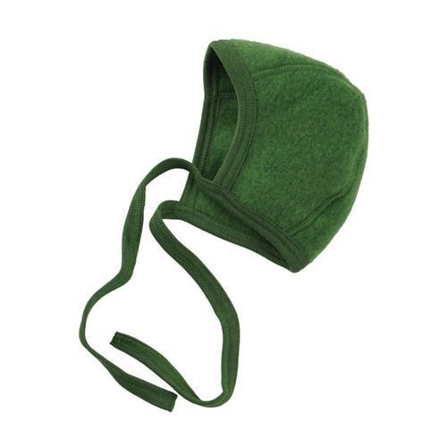 Engel Häubchen, grün melange, 62/68, Woll-Fleece