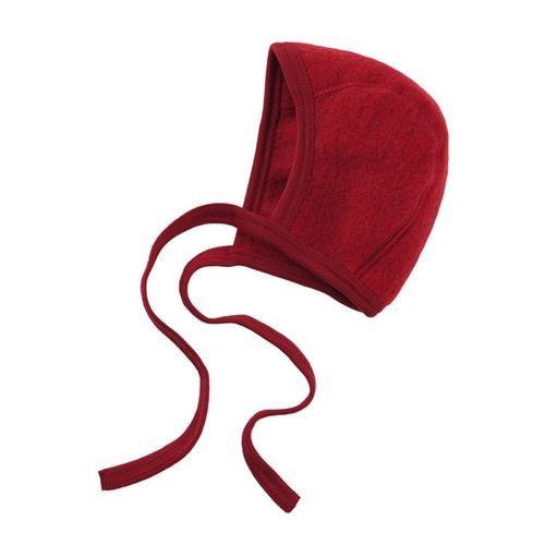 Engel Häubchen, rot melange, 50/56, Woll-Fleece