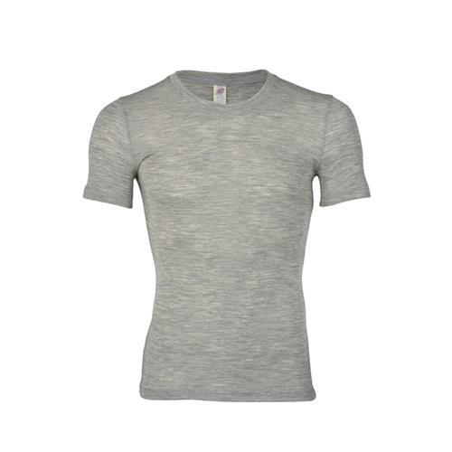Engel Herren-Shirt, kurzarm, hellgrau melange, 54/56, 70Wolle/30Seide