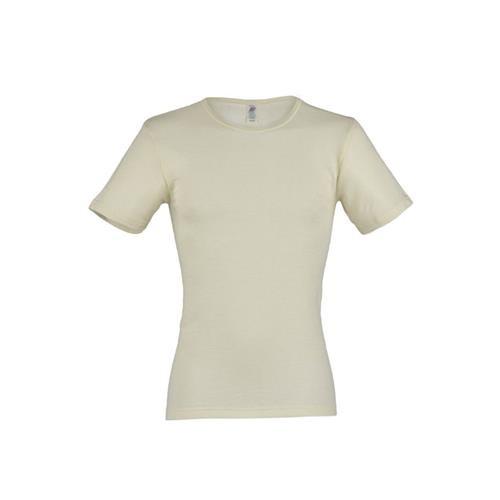 Engel Herren-Shirt, kurzarm, natur, 50/52, 70Wolle/30Seide