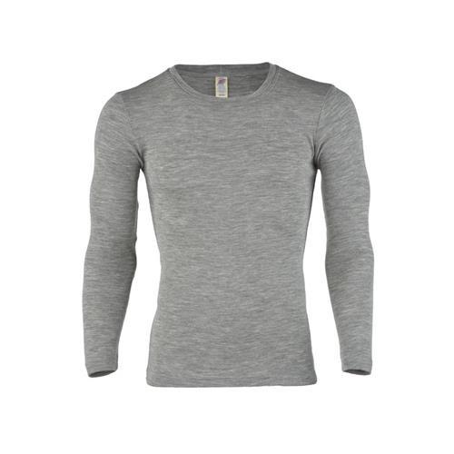 Engel Herren-Shirt, langarm, hellgrau melange, 50/52, 70Wolle/30Seide