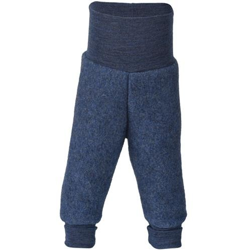 Engel Hose, m. Nabelbund, blau melange, 74/80, Woll-Fleece