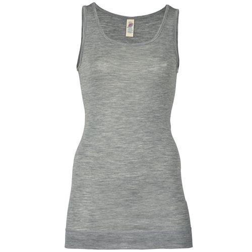 Engel Long-Shirt, ärmellos, hellgrau melange, 70Wolle/30Seide