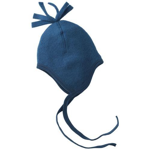 Engel Mütze, blau melange, 74/80, Woll-Fleece