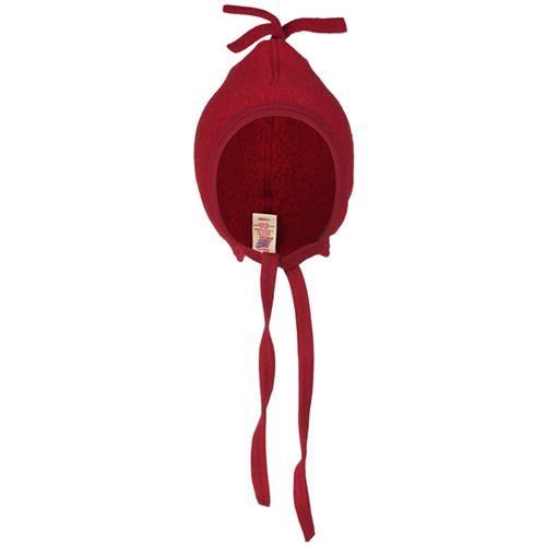 Engel Mütze, rot melange, 86/92, Woll-Fleece
