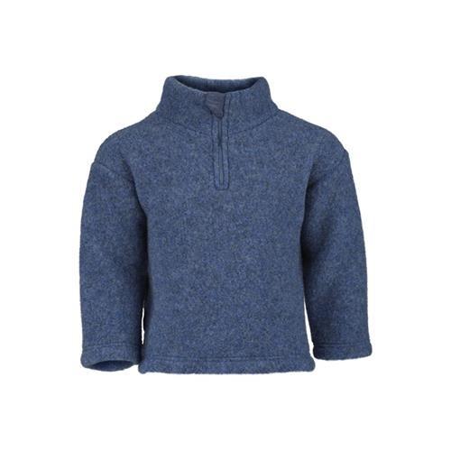 Engel Pullover, blau melange, 110/116, Woll-Fleece