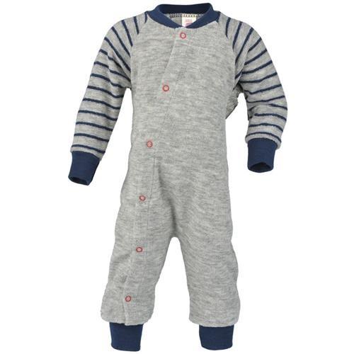 Engel Schlafanzug, einteilig, hellgrau melange, 62/68, Woll-Frottee