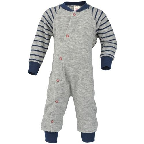 Engel Schlafanzug, einteilig, hellgrau melange, 74/80, Woll-Frottee