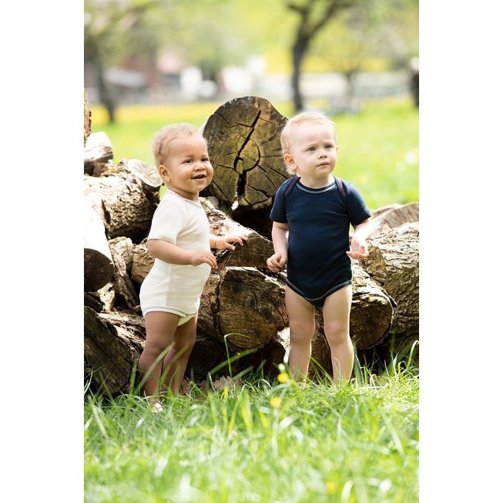 Engel Baby-Body, kurzarm, IVN BEST - natur +  indigo