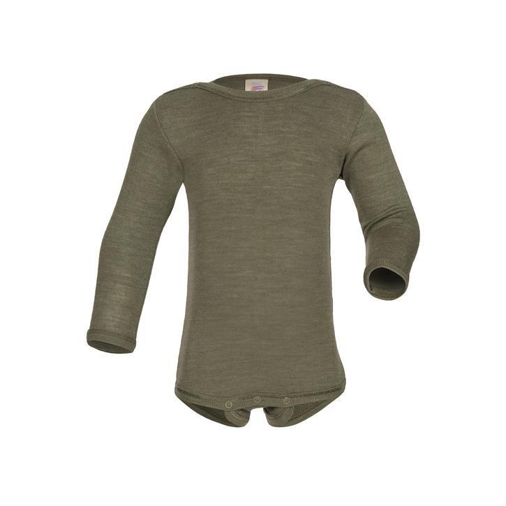 Engel Baby-Body, langarm, mit Druckverschluss an der Schulter, Wolle/Seide olive