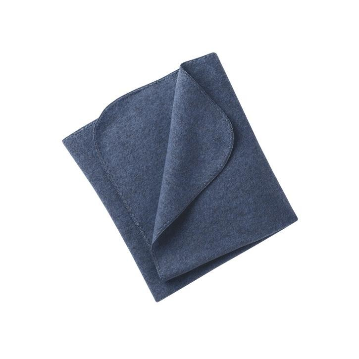 Engel Baby-Decke, mit Muschelkante, IVN BEST - blau melange - 1