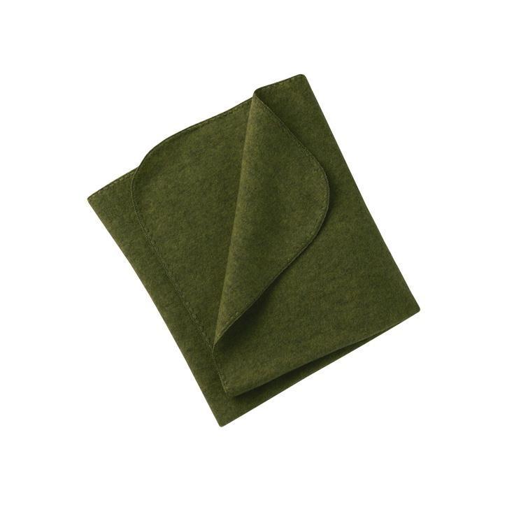 Engel Baby-Decke, mit Muschelkante, Wollfleece schilf melange 1