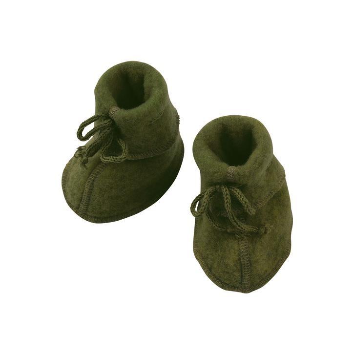 Engel Baby-Schühchen, mit Bändel, Wollfleece schilf melange 1