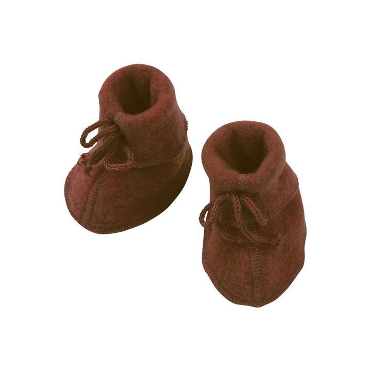 Engel Baby-Schühchen, mit Bändel, Wollfleece zimt melange 1
