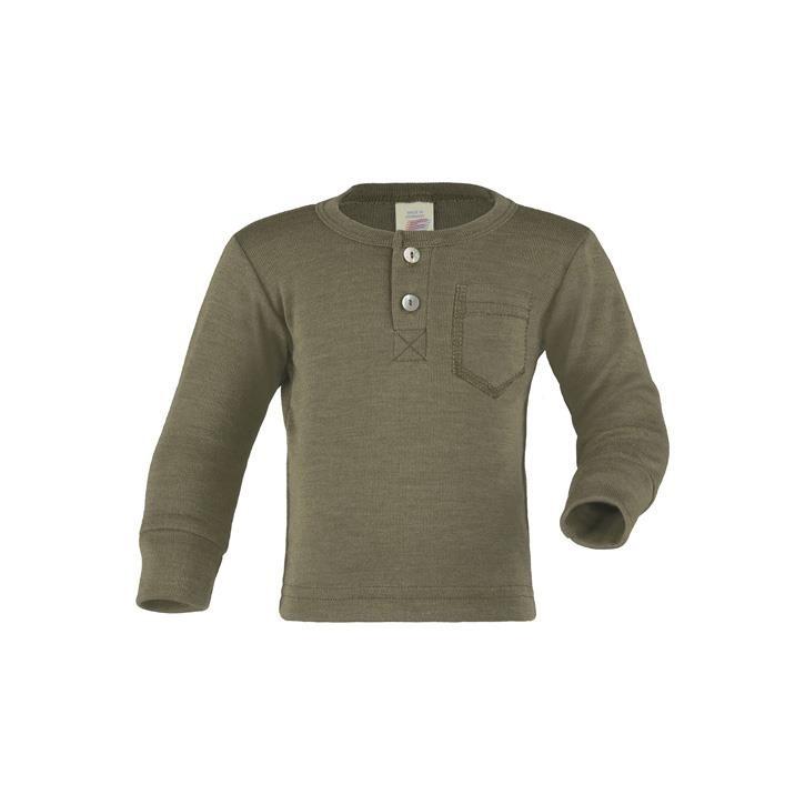 Engel Baby-Shirt, mit Knopfleiste, Wolle/Seide olive