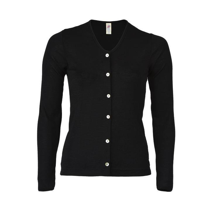 Engel Damen-Cardigan, schwarz, 70Wolle/30Seide