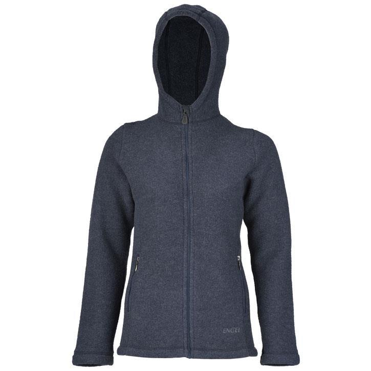 Engel Damen-Jacke, m. Kapuze u. RV, atlantik melange, 34/36, dickes Woll-Fleece