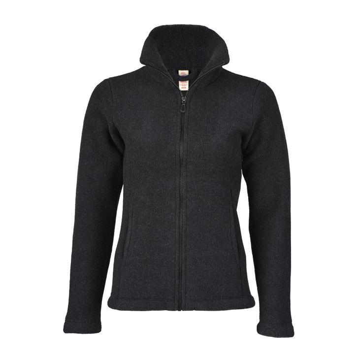 Engel Damen-Jacke, m. RV, schwarz melange, 38/40, Woll-Fleece