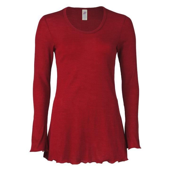 Engel Damen-Longshirt, langarm, malve, 70Wolle/30Seide