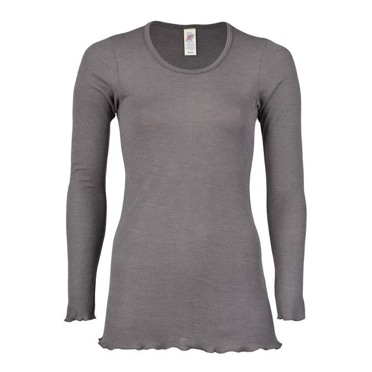 Engel Damen-Longshirt, langarm, taupe, 46/48, 70Wolle/30Seide