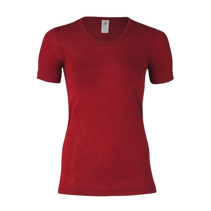 Engel Damen-Shirt, kurzarm, malve, 70Wolle/30Seide