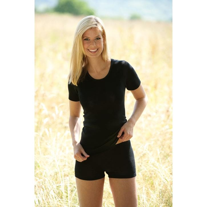 Engel Damen-Shirt, kurzarm, schwarz, 70Wolle/30Seide