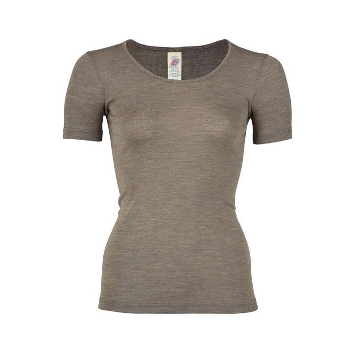 Engel Damen-Shirt, kurzarm, walnuss, 70Wolle/30Seide