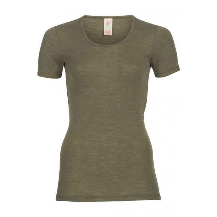Engel Damen-Shirt, kurzarm, Wolle/Seide olive