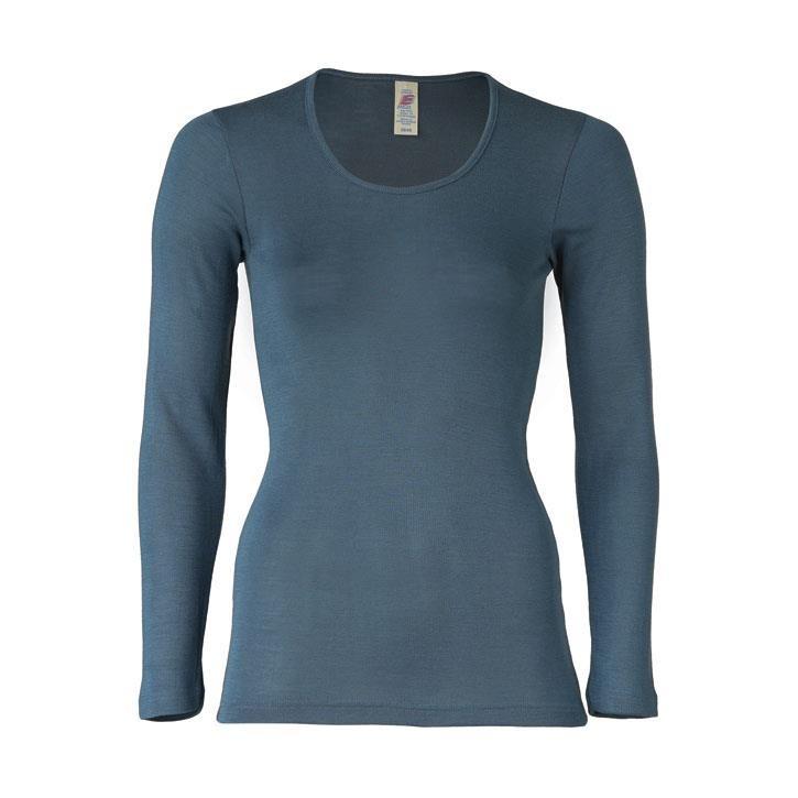 Engel Damen-Shirt, langarm, atlantik, 38/40, 70Wolle/30Seide