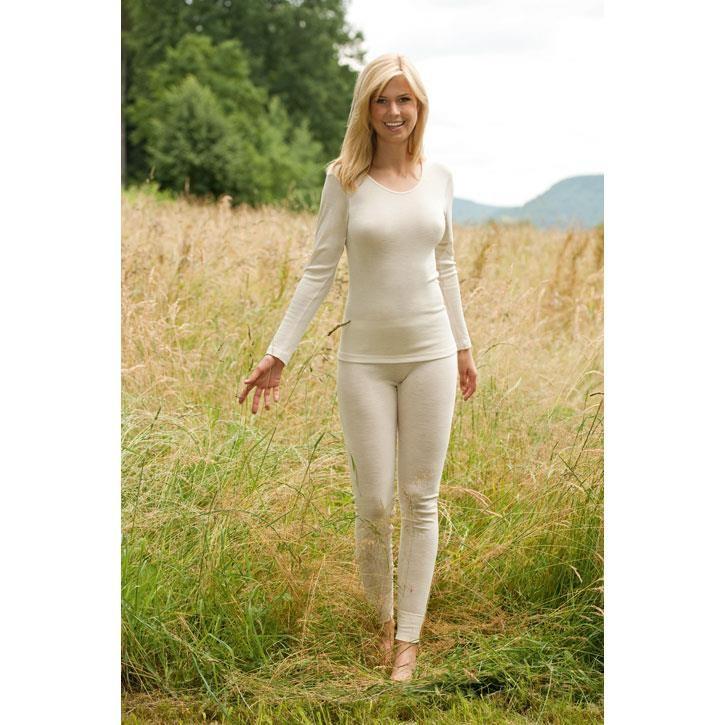 Engel Damen-Shirt, langarm, natur, 70Wolle/30Seide