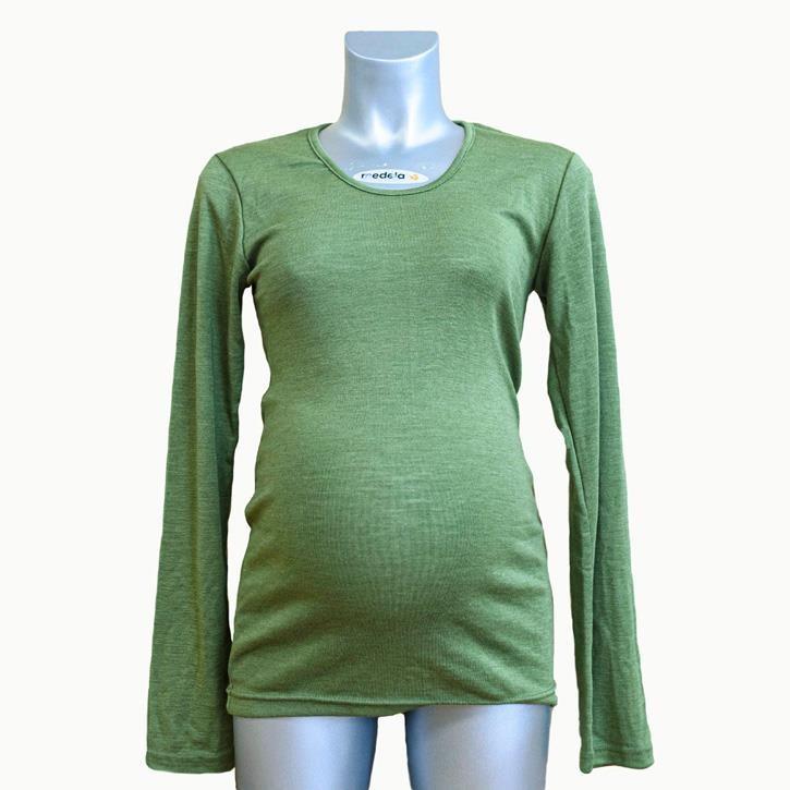 Engel Damen-Shirt, langarm, pistazie, 46/48, 70Wolle/30Seide